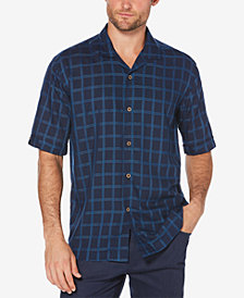 Cubavera Men's Big & Tall Topstitched Windowpane Shirt