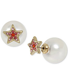 Betsey Johnson Gold-Tone Pavé Star & Imitation Pearl Front-and-Back Earrings