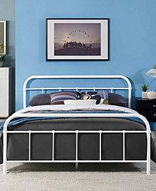 Maisie Full Stainless Steel Bed Frame in White