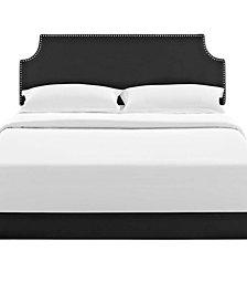 Corene Full Vinyl Platform Bed with Round Splayed Legs
