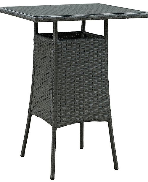 Modway Sojourn Small Outdoor Patio Bar Table in Chocolate