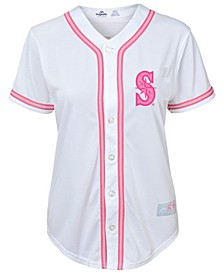 Seattle Mariners Cool Base Pink Glitter Jersey, Toddler Girls (2T-4T)