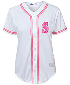 Majestic Seattle Mariners Cool Base Pink Glitter Jersey, Toddler Girls (2T-4T)