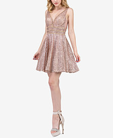 Dancing Queen Juniors' Embellished Mesh-Overlay Fit & Flare Dress