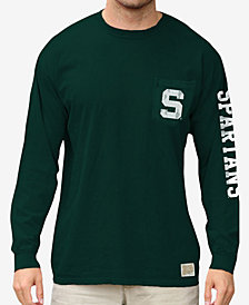 Retro Brand Men's Michigan State Spartans Heavy Weight Long Sleeve Pocket T-Shirt