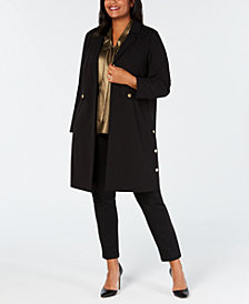 Kasper Plus Size Peak-Lapel Open-Front Stretch Crepe Jacket