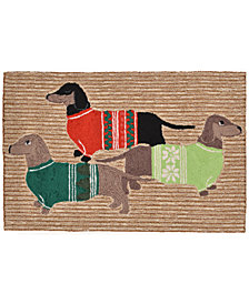 "Liora Manne Front Porch Indoor/Outdoor Holiday Hounds Neutral 2'6"" x 4' Area Rug"