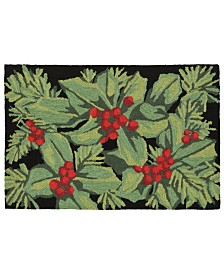"Liora Manne Front Porch Indoor/Outdoor Hollyberries Black 2'6"" x 4' Area Rug"
