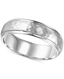 Hammered Bevel Edge Wedding Band in 14k White Gold