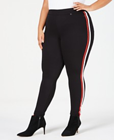 HUE® Plus Size Racer Stripe Original Denim Leggings
