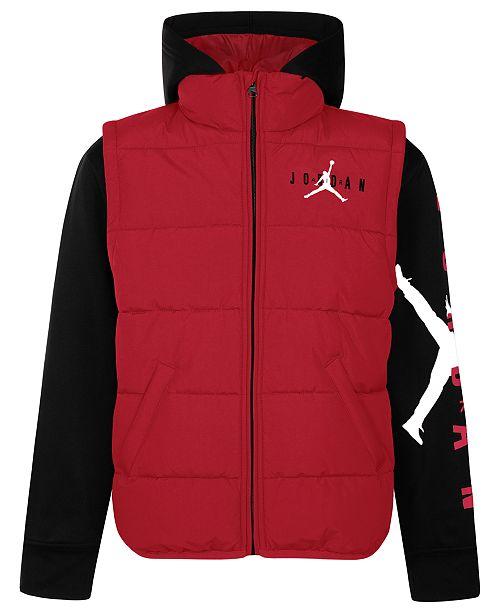 eebff108da702 Jordan Little Boys Layered-Look Hooded Puffer Jacket & Reviews ...