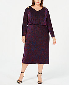 Calvin Klein Plus Size Multicolored Metallic Blouson Dress