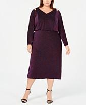 0b289055188 Calvin Klein Plus Size Multicolored Metallic Blouson Dress