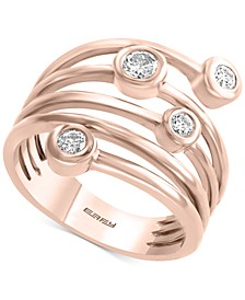 EFFY®Y® Diamond Coil Bezel Statement Ring (1/3 ct. t.w.) in 14k Rose Gold