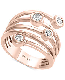 EFFYY® Diamond Coil Bezel Statement Ring (1/3 ct. t.w.) in 14k Rose Gold