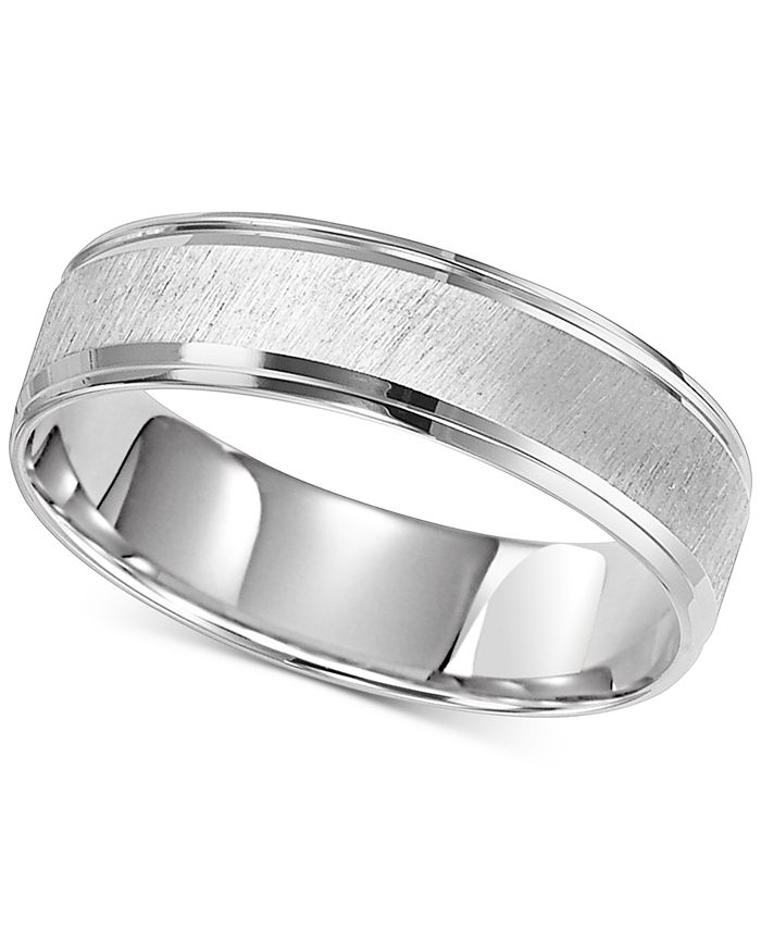 Macy's - Satin Finish Step Edge Wedding Band in 14k White Gold
