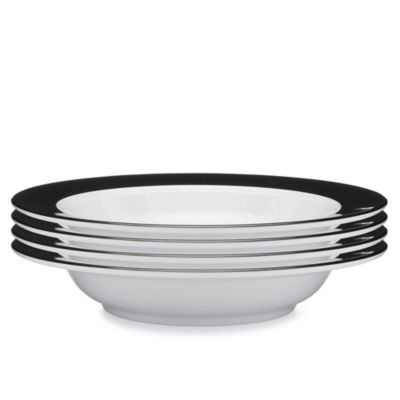 Moonbeam Ring Black Melamine 4-Pc. Pasta Bowl Set