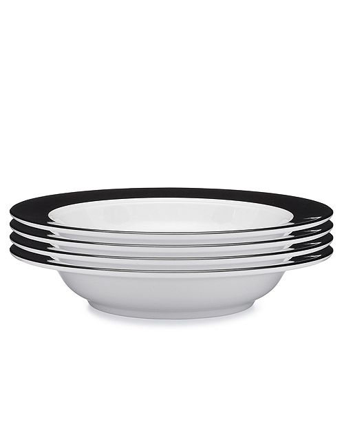 Q Squared Moonbeam Ring Black Melamine 4-Pc. Pasta Bowl Set