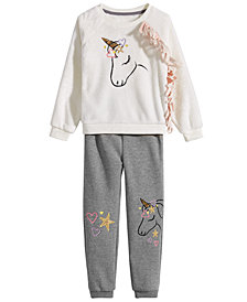 Epic Threads Little Girls Unicorn Sweatshirt & Jogger Pants, Created for Macy's