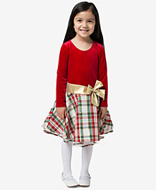 Bonnie Jean Toddler Girls Velvet Metallic Plaid Dress
