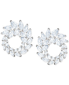 Swarovski Silver-Tone Crystal Hoop Drop Earrings