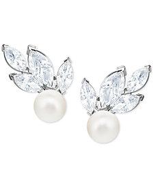 Swarovski Silver-Tone Crystal & Imitation Pearl Drop Earrings