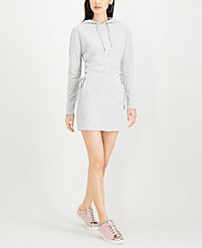 Material Girl Juniors' Lace-Up Hoodie Dress, Created for Macy's