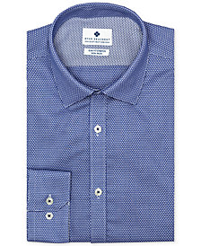 Ryan Seacrest Distinction™ Men's Ultimate Slim-Fit Non-Iron Performance Stretch Navy Dobby Dress Shirt, Created for Macy's