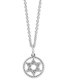 "EFFY® Diamond Accent Star 18"" Pendant Necklace in 14k White Gold"