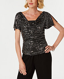 R & M Richards Petite Sequined Ruched Blouse