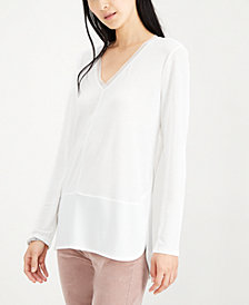 Bar III Long Sleeve V-Neck Mixed Media Top, Created for Macy's