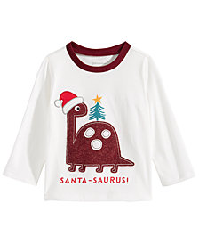 First Impressions Baby Boys Santa-Saurus-Print Cotton T-Shirt, Created for Macy's