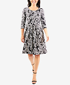 NY Collection Puff-Print Pleated Dress