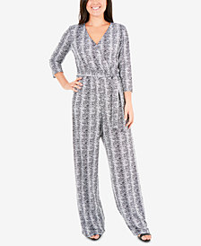 NY Collection Printed Wide-Leg Jumpsuit