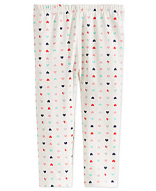 First Impressions Toddler Girls Hearts-Print Leggings, Created for Macy's