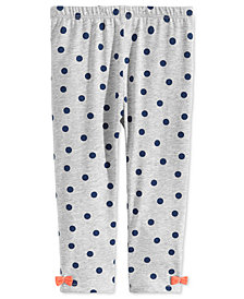 First Impressions Baby Girls Dot-Print Bow Leggings, Created for Macy's