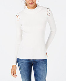 Hippie Rose Juniors' Ribbed Lace-Up Sweater