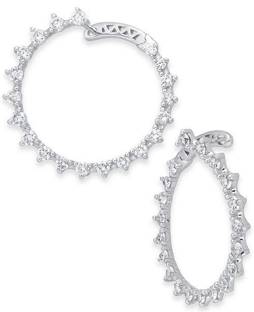 Macy's Diamond Front & Back Drop Hoop Earrings (1-1/2 ct. t.w.) in 14k White Gold