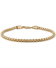 Esquire Men's Jewelry Box Link Chain Bracelet in 14k Gold-Plated Sterling Silver, Created for Macy's