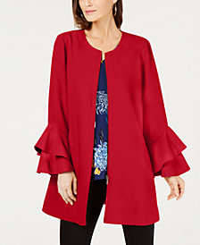 Alfani Flared-Sleeve Collarless Jacket, Created for Macy's