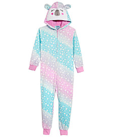 Max & Olivia Big Girls Ombré Bear Hooded Onesie, Created for Macy's