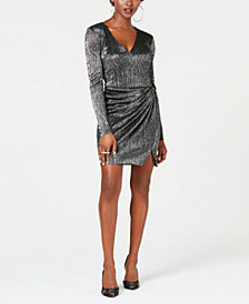 GUESS Metallic Gathered-Skirt Dress