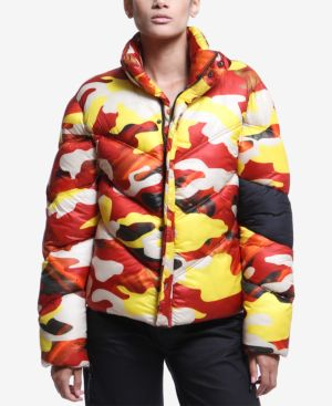 Artistix Printed Puffer Jacket - Yellow Camo