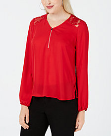 BCX Juniors' Lace-Yoke Zippered-Neck Top
