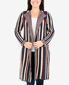 NY Collection Jacquard Striped Cardigan