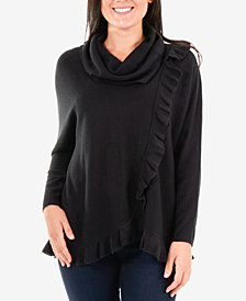 NY Collection Faux-Wrap Cowl-Neck Sweater
