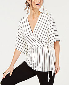 Alfani Tie-Detail Surplice Top, Created for Macy's