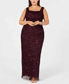 6b81f3b30da Adrianna Papell Plus Size Beaded Long Gown