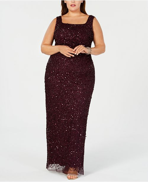 Adrianna Papell Plus Size Beaded Long Gown & Reviews ...