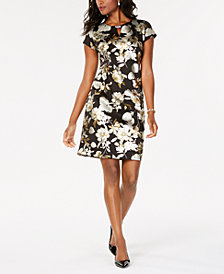 JM Collection Foil Print Dress, Created for Macy's